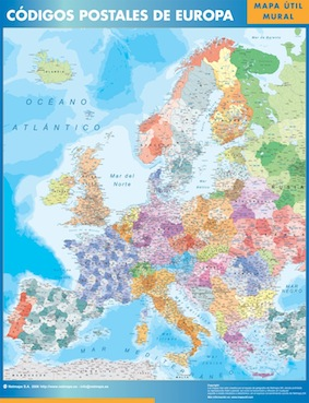 europa mapa plastificado códigos postales