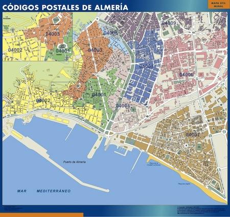 Mapa Almeria con los códigos postales de la ciudad
