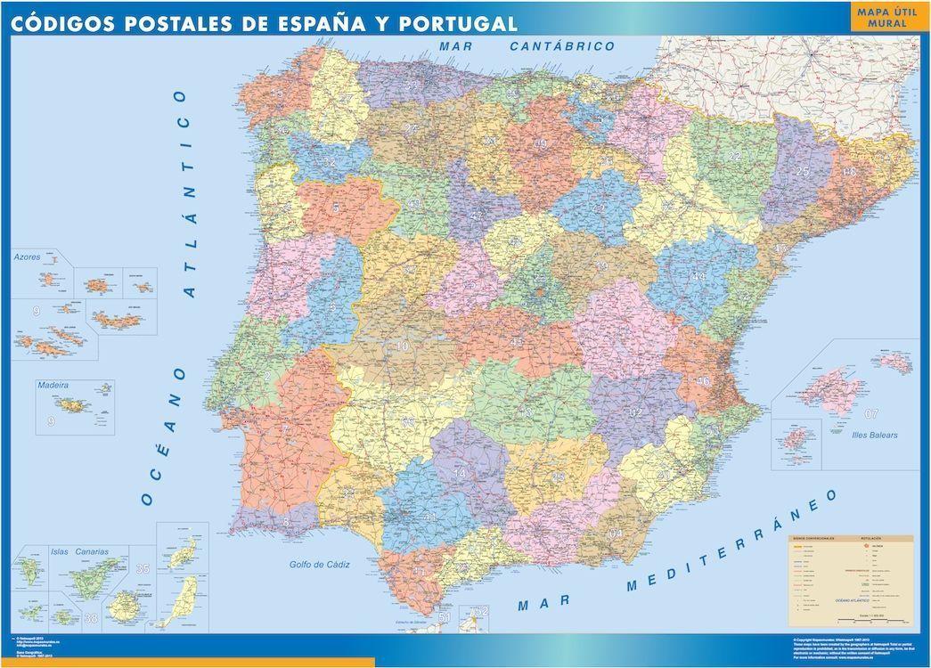 mapa grande espana codigos postales