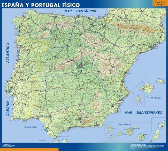 Mapa Carreteras Espana Fisico
