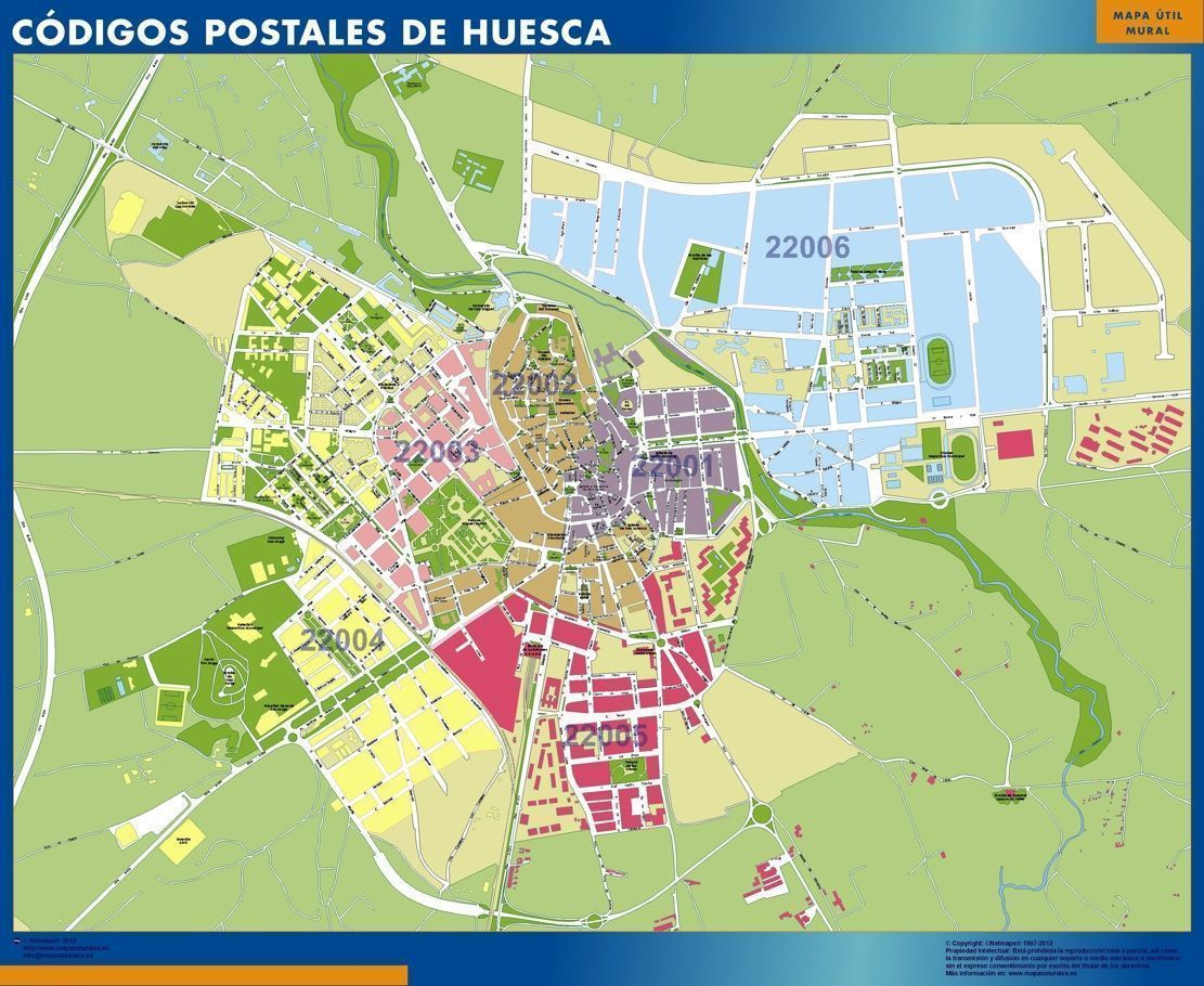 D nde mapa huesca c digos postales tienda mapas murales for Codigo postal calle salamanca valencia