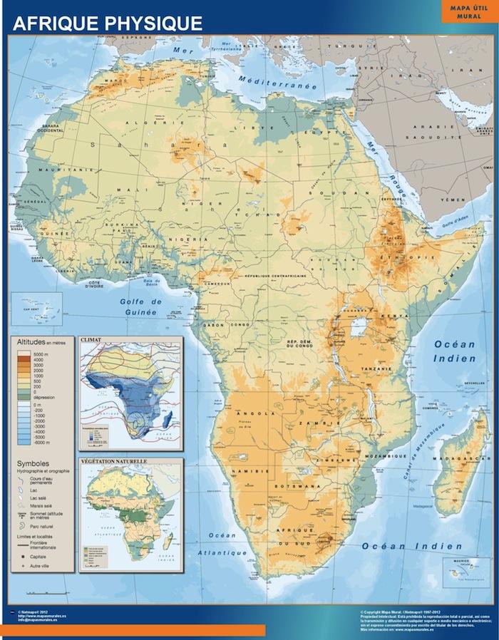 Mapa Africa fisico mural