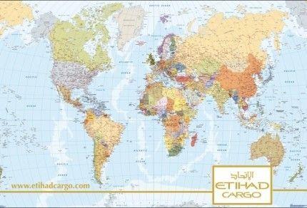 mapa Etihad airlines