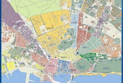 Mapa Alicante Códigos postales
