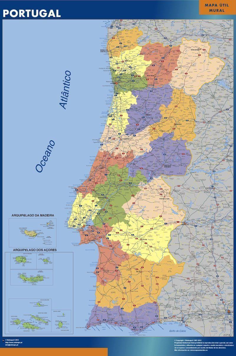 comprar mapa de portugal poster portugal | Mapas Murales Pared España y el Mundo comprar mapa de portugal