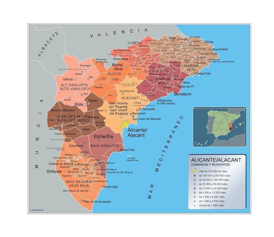 Mapa Municipios Alicante de la provincia de la Comunidad Valencia