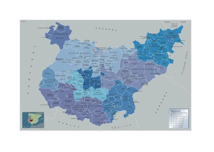 Mapa Municipios Badajoz en Extremadura