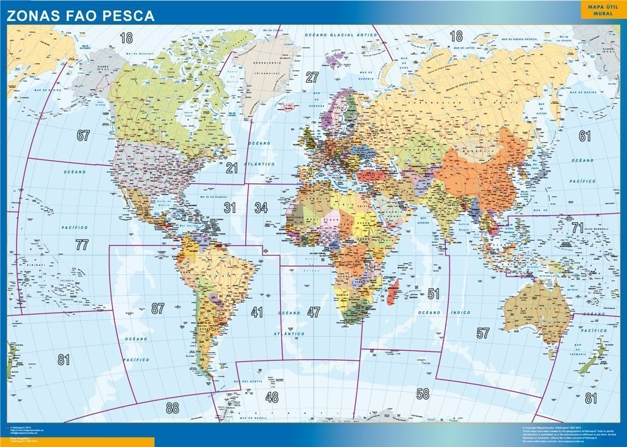 Mapa Mundo Fao Areas Pesca
