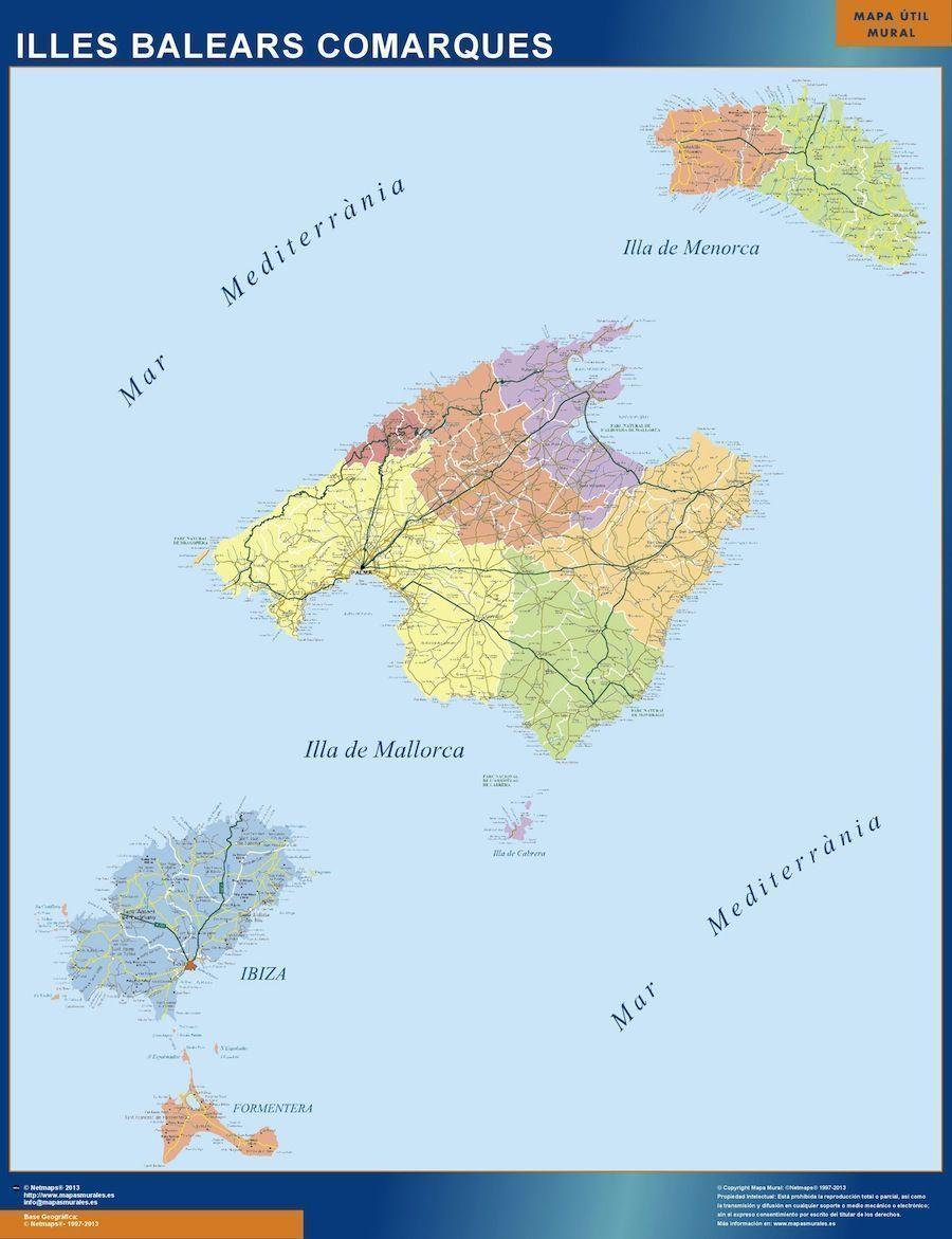 Mapa comarcal de las Islas Baleares