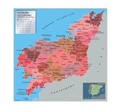 Mapa A Coruna por municipios gigante