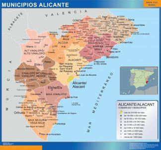 Mapa Alicante por municipios gigante