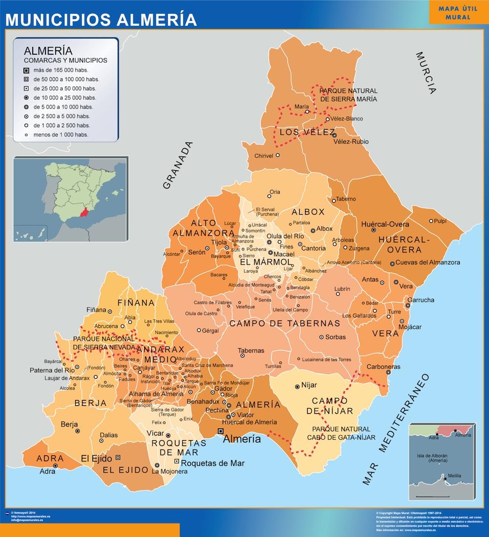 Provincia De Almeria Mapa.Mapa Almeria Por Municipios Magnetico Enmarcado Para Imanes Grande