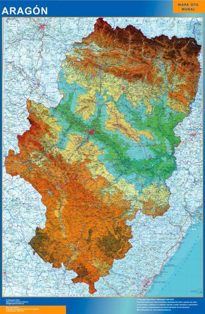 Mapa Aragón físico gigante