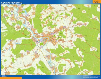 Mapa Aschaffenburg en Alemania gigante