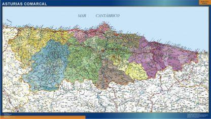 Mapa Asturias comarcal gigante