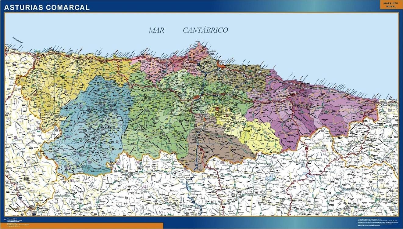 Mapa Asturias Comarcal Gigante Mapasmurales Com