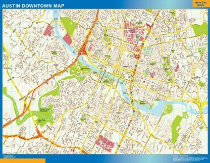 Mapa Austin downtown gigante