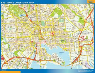 Mapa Baltimore downtown gigante