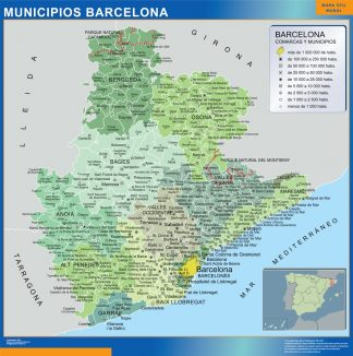 Mapa Barcelona por municipios gigante