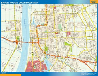 Mapa Baton Rouge downtown gigante