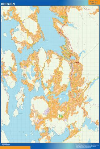 Mapa Bergen en Noruega gigante