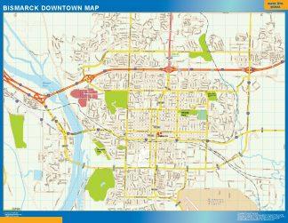 Mapa Bismarck downtown gigante