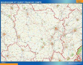 Mapa Bourgogne Franche Comte en Francia gigante