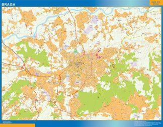 Mapa Braga en Portugal enmarcado plastificado