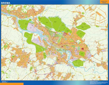 Mapa Brema en Alemania gigante