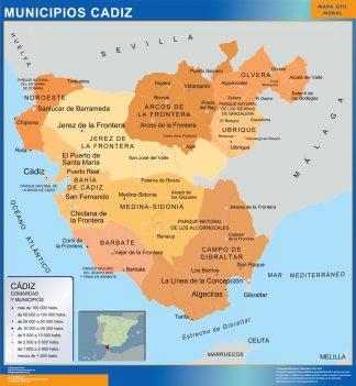 Mapa Cadiz por municipios gigante