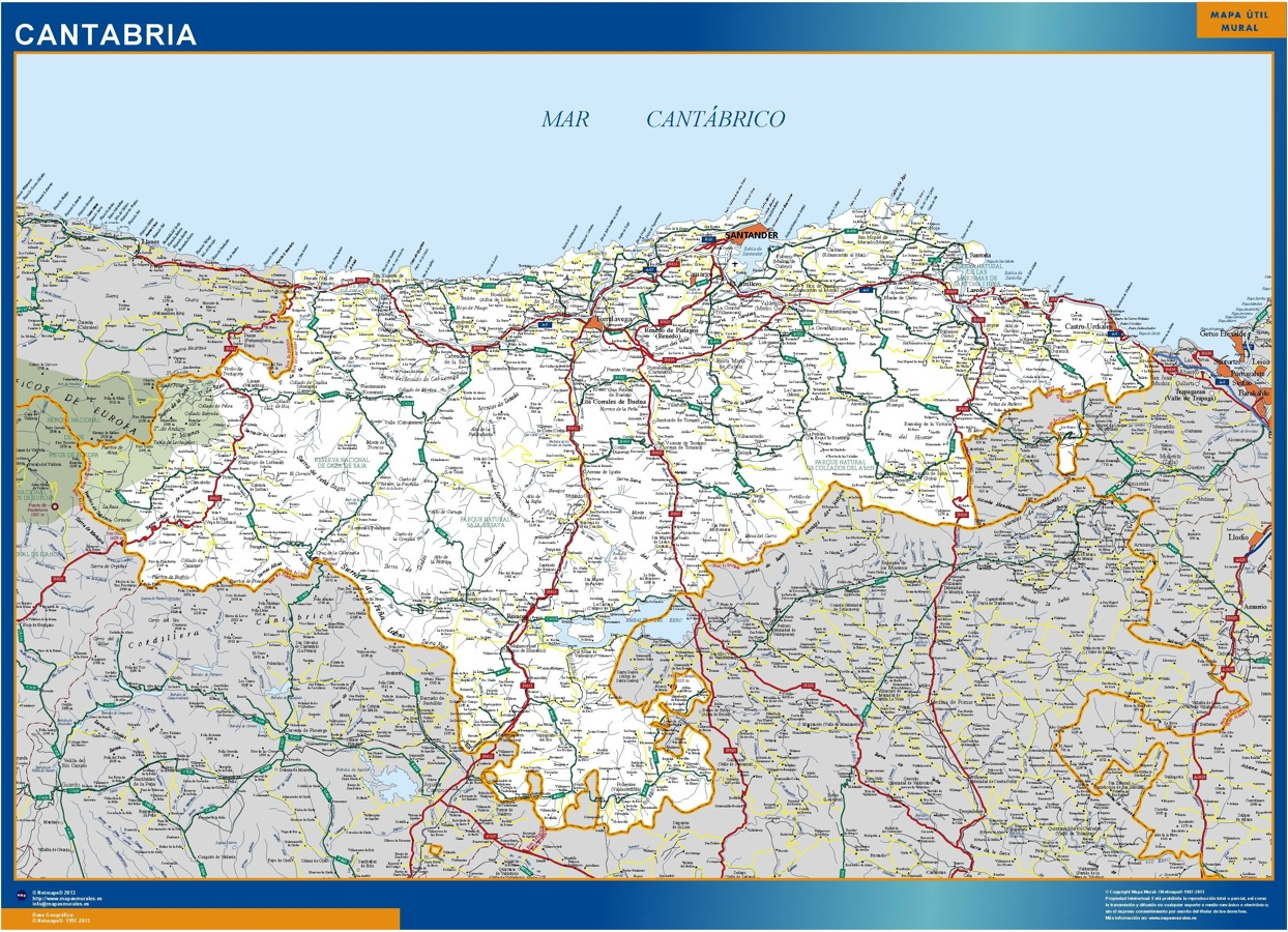 Mapa Asturias Y Cantabria.Mapa Cantabria Carreteras Grande Mapasmurales Com