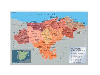Mapa Cantabria por municipios gigante