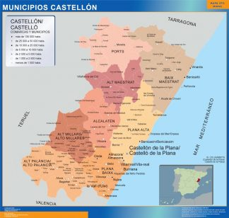 Mapa Castellon por municipios gigante