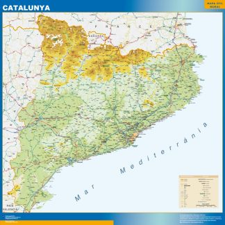 Mapa Cataluña físico gigante