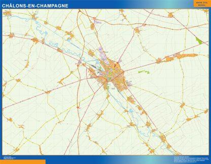 Mapa Chalons En Champagne en Francia gigante
