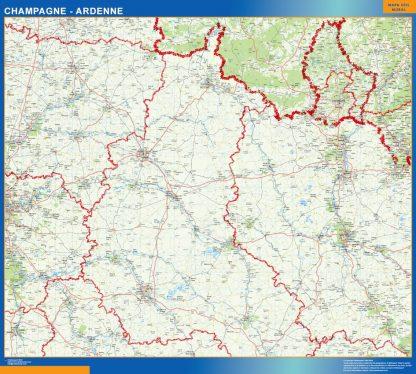 Mapa Champagne Ardenne en Francia gigante