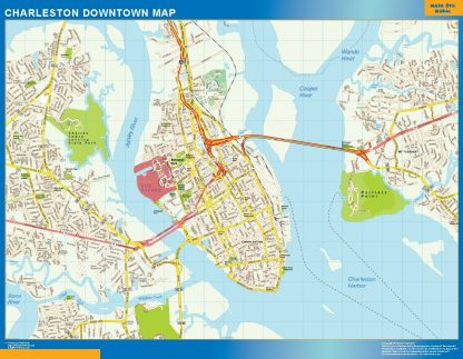 Mapa Charleston downtown gigante