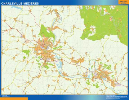 Mapa Charleville Mezieres en Francia gigante