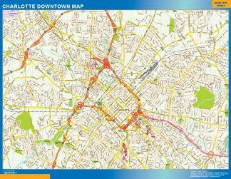Mapa Charlotte downtown gigante