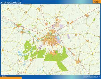Mapa Chateauxroux en Francia gigante