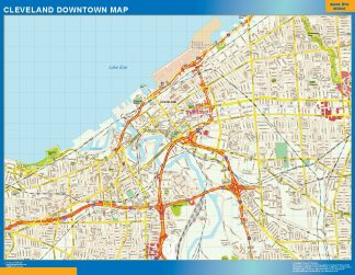 Mapa Cleveland downtown gigante