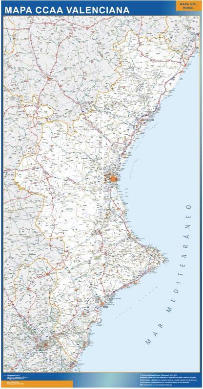 Mapa Comunitat Valenciana carreteras gigante