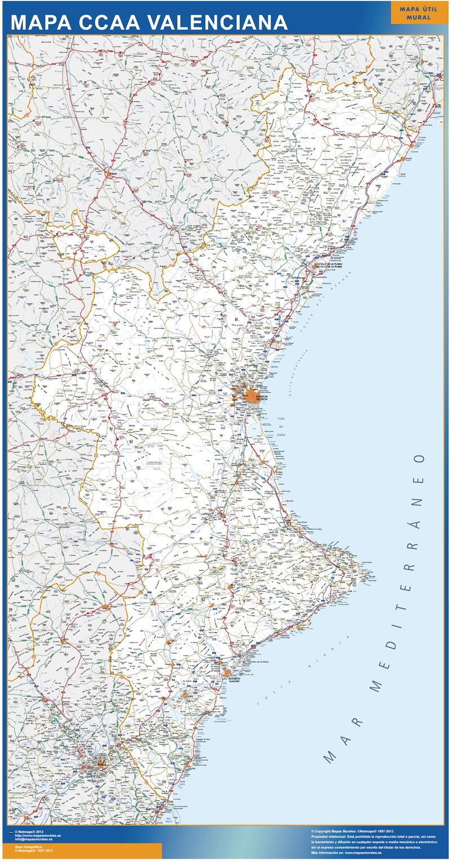Mapa Fisico Comunitat Valenciana.Mapa Comunitat Valenciana Carreteras Grande Mapasmurales Com