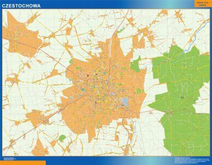 Mapa Czestochowa Polonia gigante