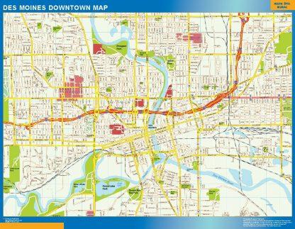 Mapa Des Moines downtown gigante