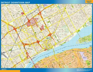 Mapa Detroit downtown gigante