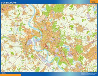 Mapa Dusseldorf en Alemania gigante