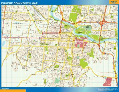 Mapa Eugene downtown gigante