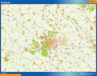 Mapa Evreux en Francia gigante