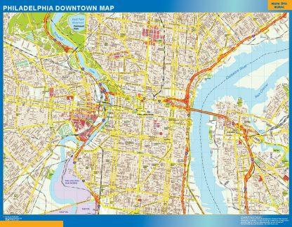 Mapa Filadelfia downtown gigante